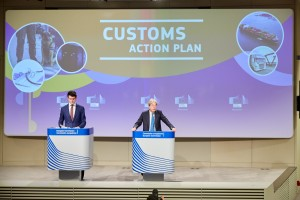Press conference of Paolo Gentiloni, European Commissioner, on the Customs Union Action Plan